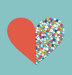Heart shape made from pills and medicines vector