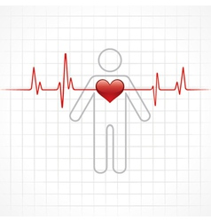 Heartbeat across in man vector