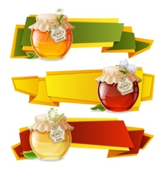 Honey origami banners vector