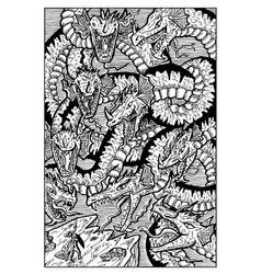 Hydra water serpent monster engraved fantasy vector
