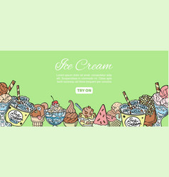 ice cream assortment hand drawn doodles vector image
