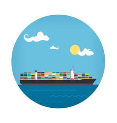 Icon of cargo container ship vector