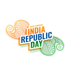 Indian republic day ethnic card design background vector