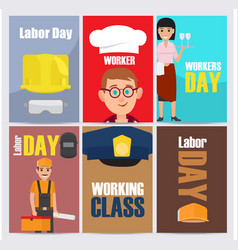 international labor day themed set vector image