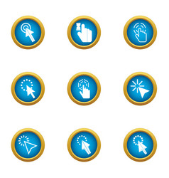 Internet pressing icons set flat style vector