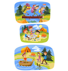 Kids summer camping cartoon of vector