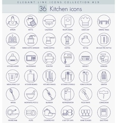 kitchen outline icon set Elegant thin line vector image