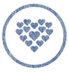 Love hearts shape rounded fabric textured icon vector