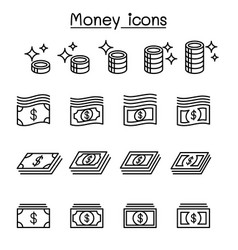 money coin cash currency bank note icon set vector image