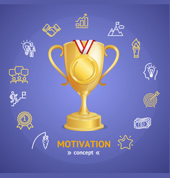 Motivation and productivity concept with golden vector