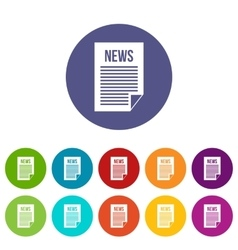 News newspaper set icons vector