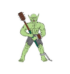 Orc Warrior Wielding Club Cartoon vector