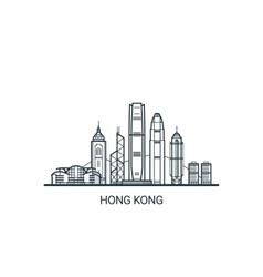 Outline Hong Kong banner vector