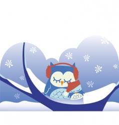owls sleeping on snowy tree vector image