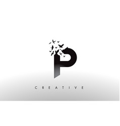 P logo letter with flock of birds flying and vector