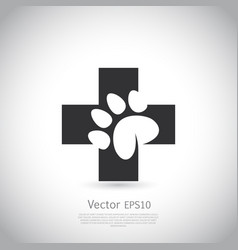 paw print pet health care icon vector image