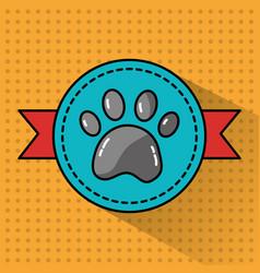 pet paw print banner emblem animal vector image