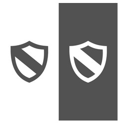Protection shield icon on black and white vector