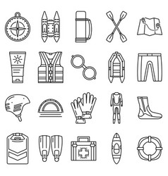 rafting icon set outline style vector image