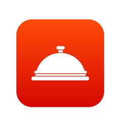 restaurant cloche icon digital red vector image