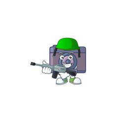 Retro camera mascot design in an army uniform vector