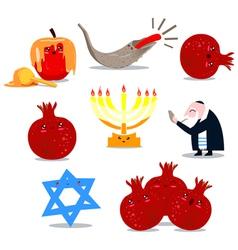rosh hashanah symbols pack vector image