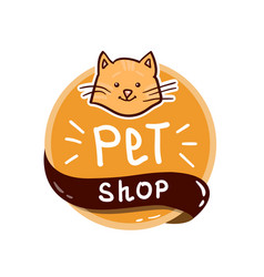 round logo with cat and text pet shop vector image