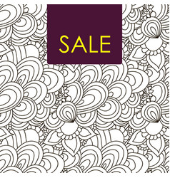 Sale card doodle pattern vector