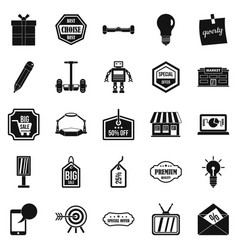 Sale of advertising icons set simple style vector