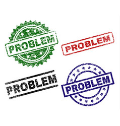 scratched textured problem seal stamps vector image