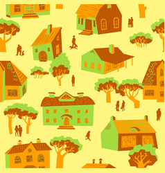 Seamless pattern with houses cute town vector