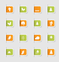set a collection unique paper stickers icon vector image