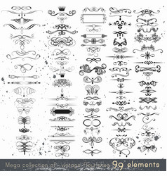Set of calligraphic elements and page decorations vector