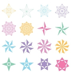 Set of stars Geometric shapes vector image