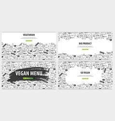 Set of vegetarian banners hand-draw doodle vector