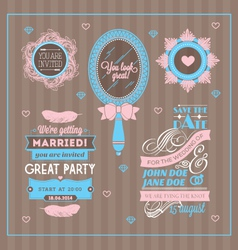 Set of wedding invitations vector image