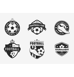 set vintage color football soccer championship vector image