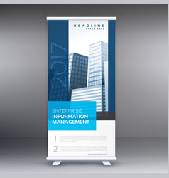simple blue standee roll up banner design with vector image vector image