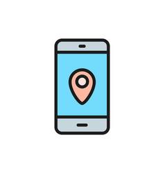 smartphone with destination mark gps navigations vector image