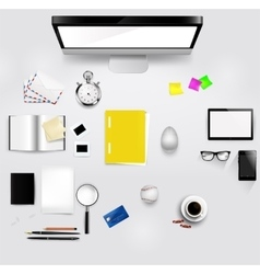 View of comfortable working place in office vector