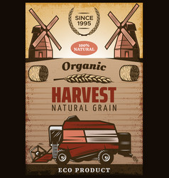 Vintage colored agricultural harvesting poster vector