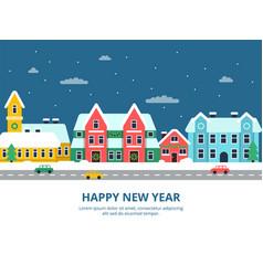 winter urban landscape snowy rocity buildings vector image