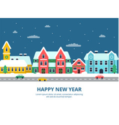 Winter urban landscape snowy roof city buildings vector