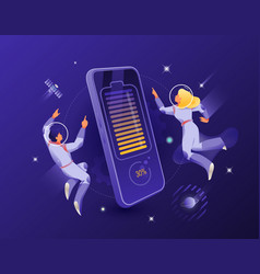 wireless charging smartphone and astronauts couple vector image