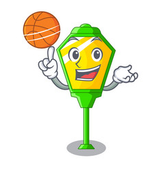 With basketball lamps post collection in a cartoon vector