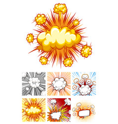 different designs of explosion clouds vector image