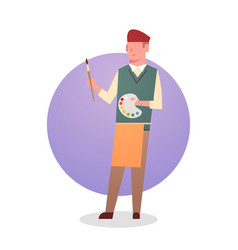 painter man icon male artist hold paint brush vector image