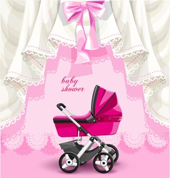 Pink baby shower card with baby carriage vector image vector image