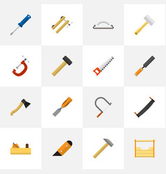 set of 16 editable apparatus flat icons includes vector image