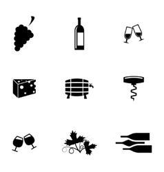 black wine icons set vector image